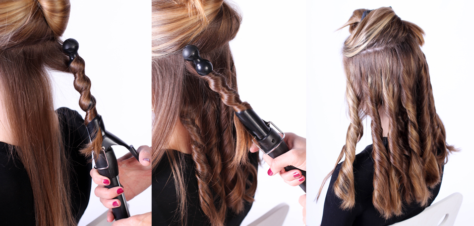 Keep curling the sections of hair until you reach the top of your head ...